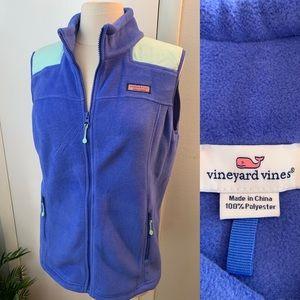 Women's Vineyard Vines Fleece Vest Blue & Green L